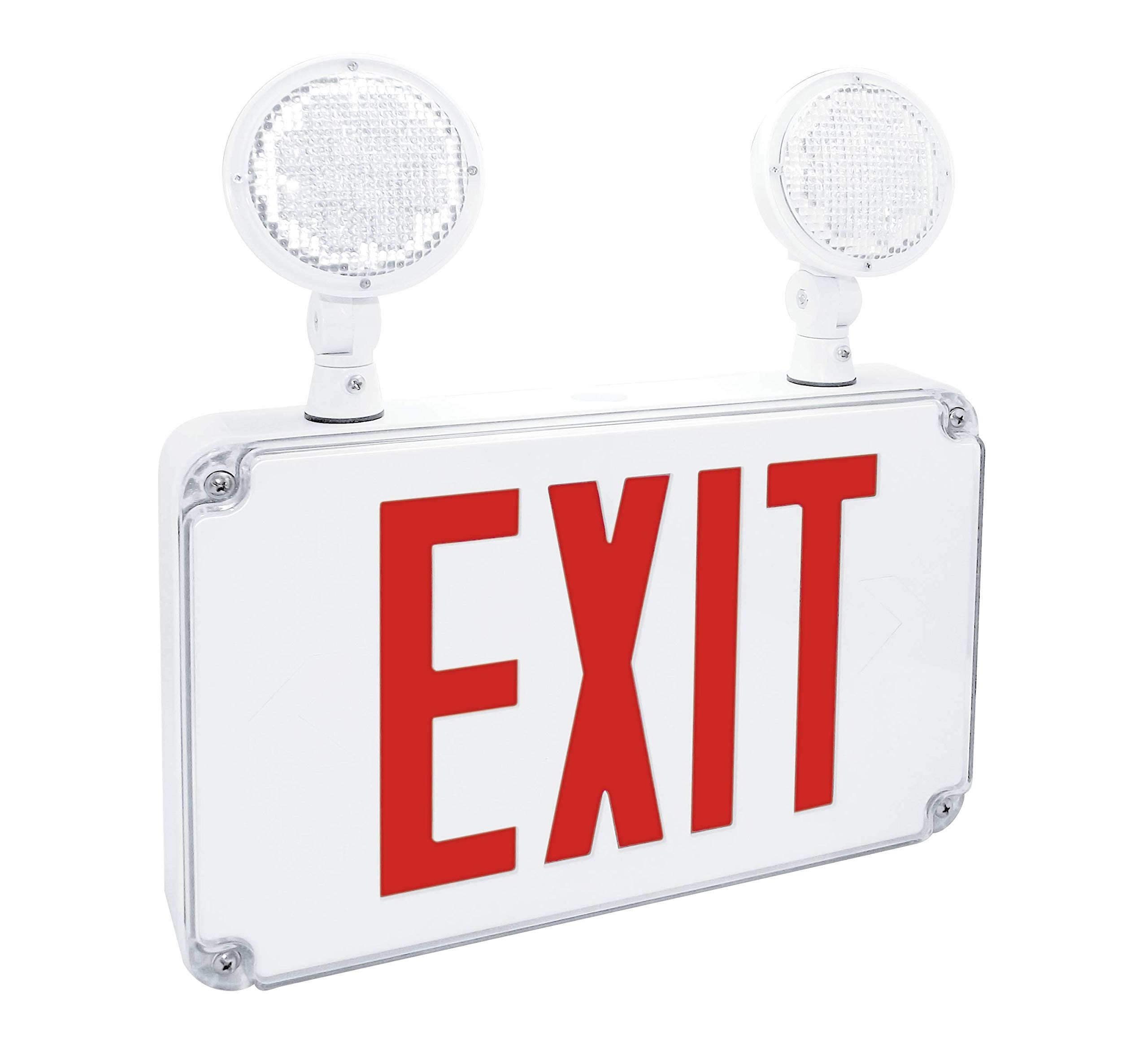 Fulham Lighting FHEC34R FireHorse Light Slim Wet Location Exit Emergency Combo-Red Letters
