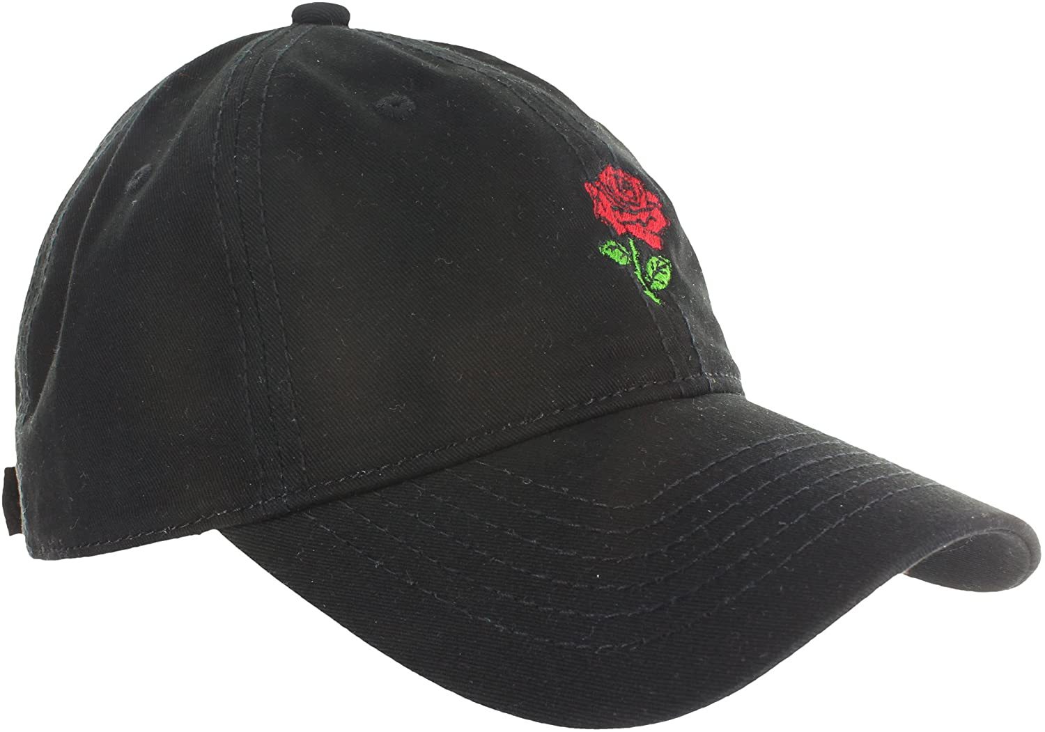 Amazon.com  Dad Hat Cap - Rose Flower Emoji Embroidered Adjustable Black  Baseball Cap  Clothing d91aefc39729