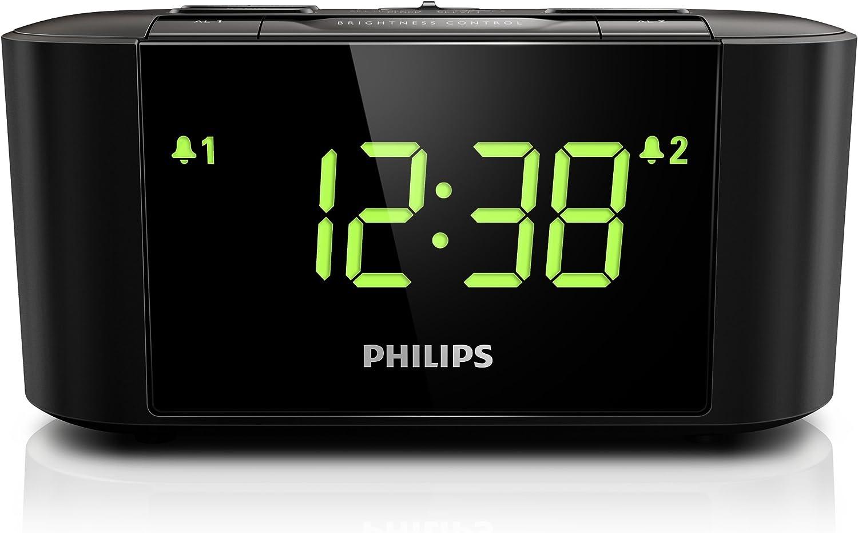 Philips AJ3500 Radio réveil avec tuner FM, grand écran, double alarme, réglagle de l'heure automatique, mise en veille programmable, Noir