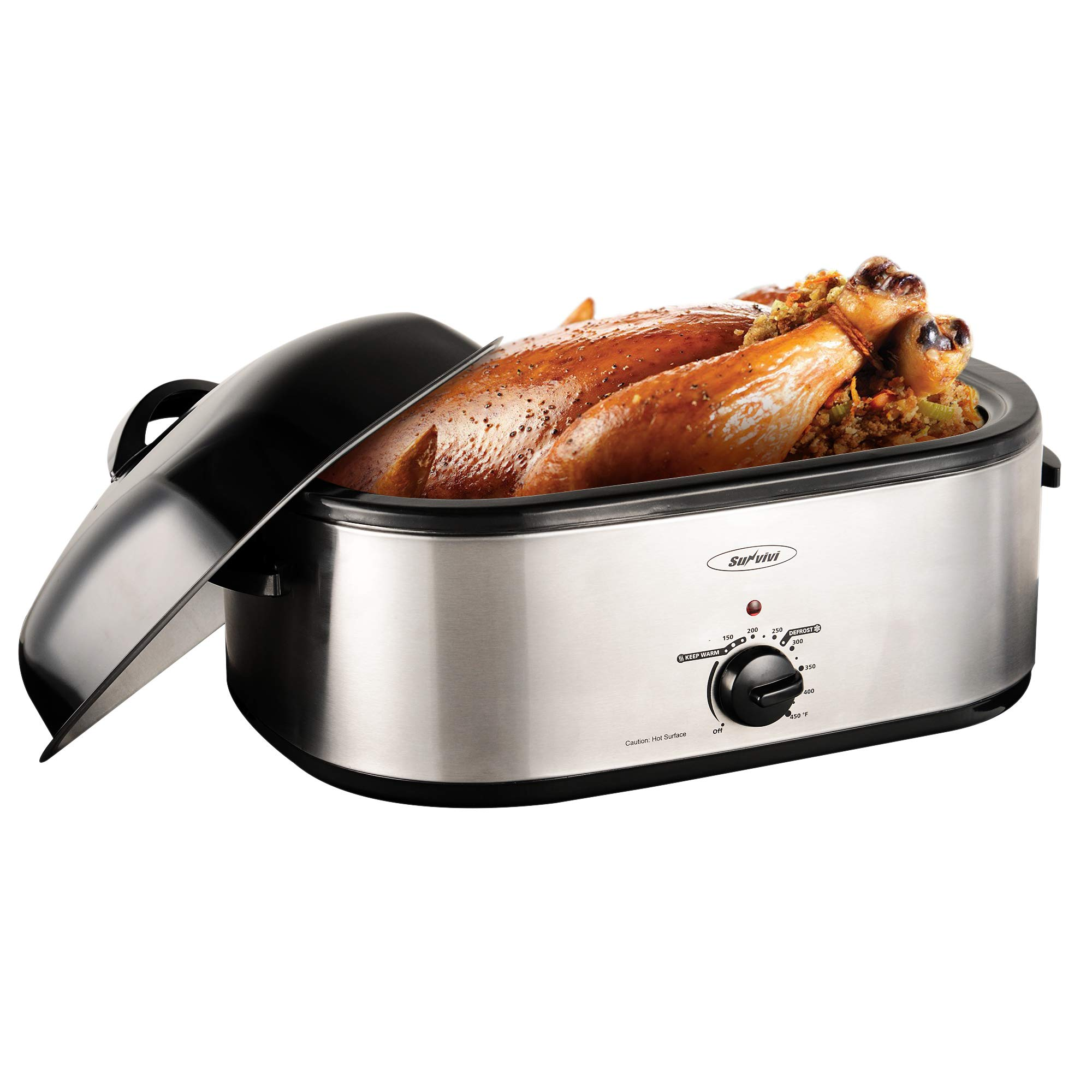 Sunvivi 18 Quart Electric Roaster Oven, Turkey Roaster Electric Roaster Oven Buffet with Self-Basting Lid Removable Pan, Full-Range Temperature Control Cool-Touch Handles, Silver by SUNVIVI OUTDOOR
