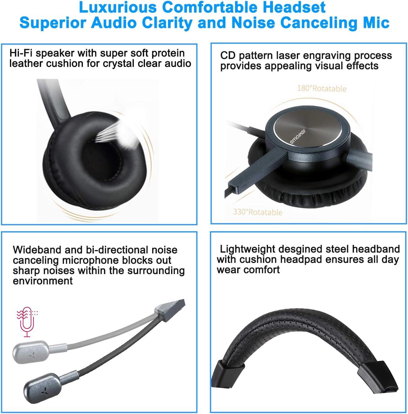 Auriculares USB con cancelación de ruido para PC con indicador de satélite, botón de llamada de silencio para el centro de llamadas de Skype Chat ...