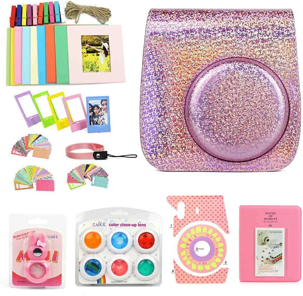 WOGOZAN Mini Camera Case Glitter Pink for Fujifilm Instax Mini 9 8 8+ Instant Film Camera Premium PU Leather Includes mini8 Accessories