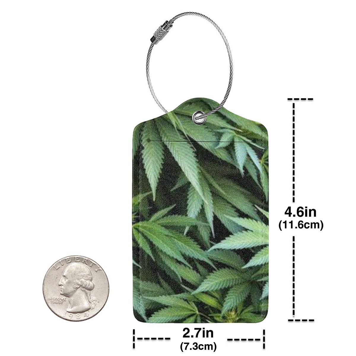 GoldK Cannabis Leaf Leather Luggage Tags Baggage Bag Instrument Tag Travel Labels Accessories with Privacy Cover