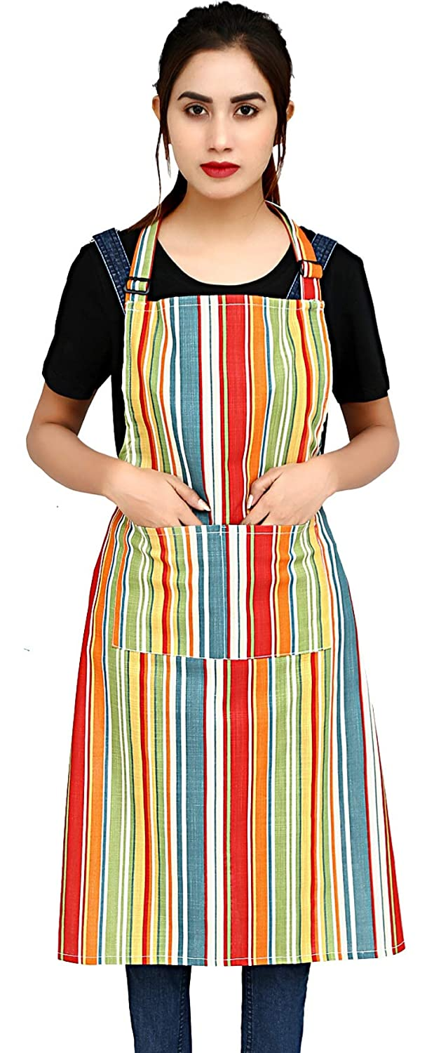 """Ruvanti Chef Apron for Women .100% Cotton Cute Kitchen Aprons with Pockets. Plus Size (28 X 36 """") Adjustable Neck Strap,Long Ties. Thanksgiving Apron/Christmas Apron for Cooking,Baking & Painting."""