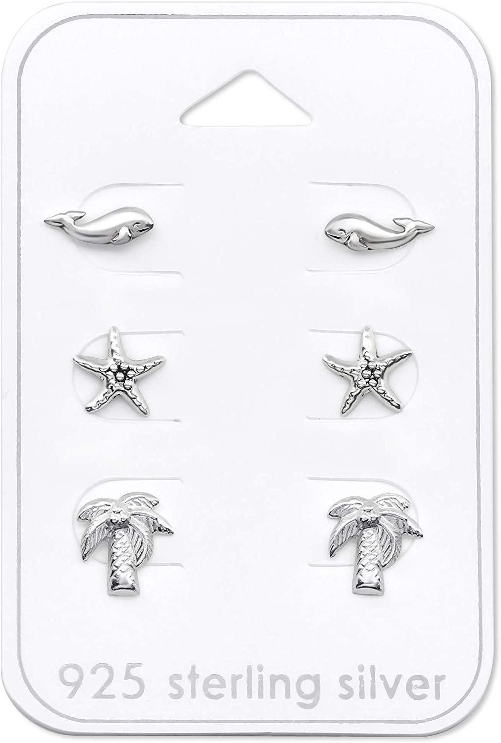 The Rose /& Silver Company Women 925 Sterling Silver Whale Starfish Palm Tree Stud Earrings Set RS1046