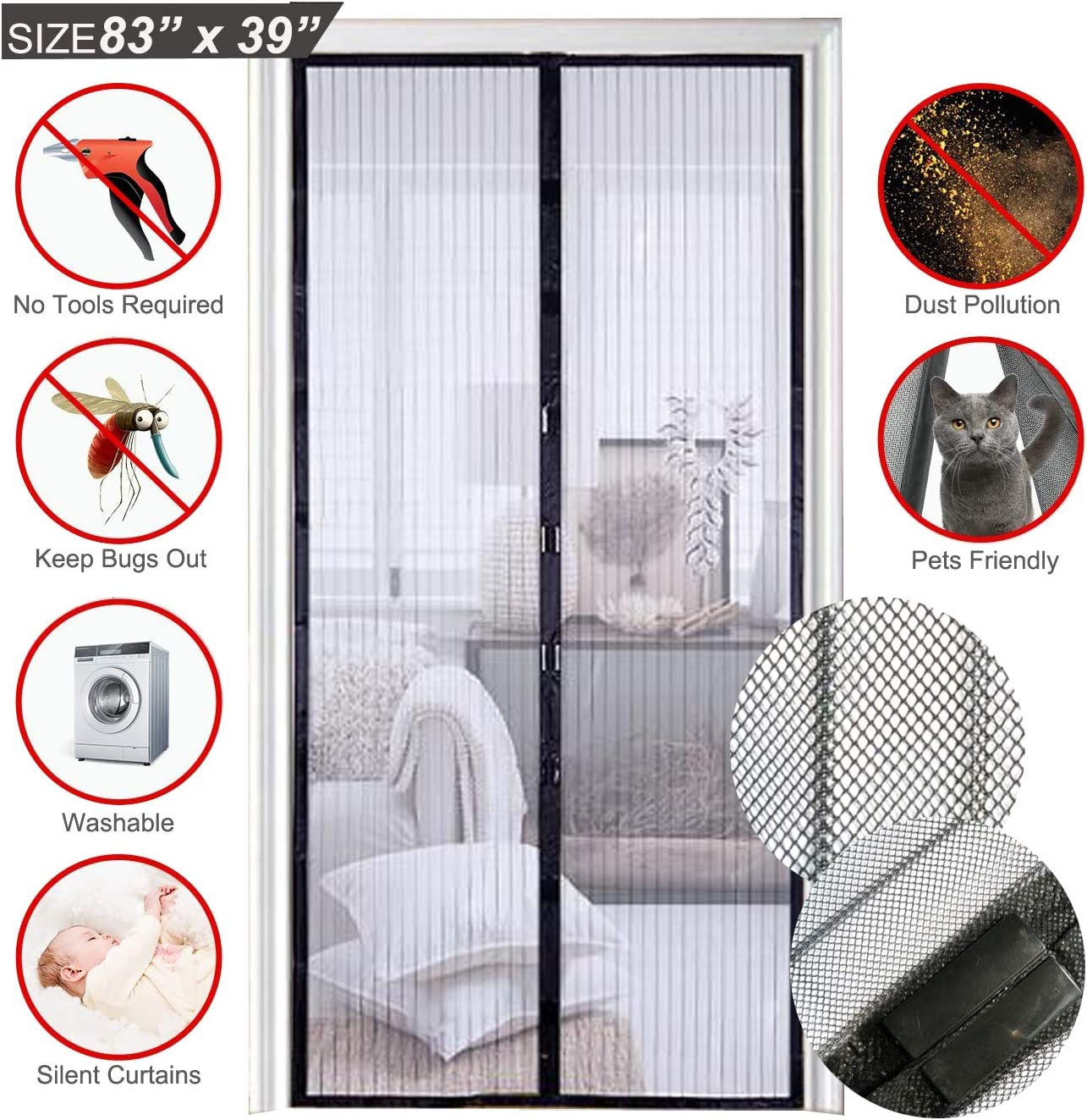 Screen Door Self Sealing Heavy Duty Hands Free Mesh Partition Keep Bugs Pet Kids