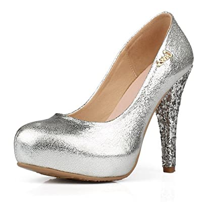 AmoonyFashion Womens Closed Round Toe High Heel PU Micro Fiber Solid Pumps with Sequin