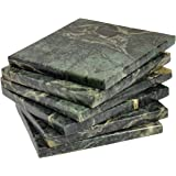 Green Marble Coaster a set of 4 stone Coasters for your bar and home drinks