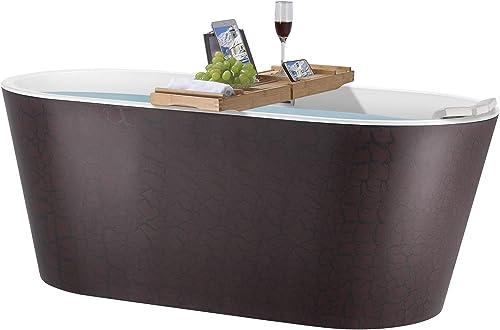 AKDY 59 Inch Reddish Brown Acrylic Tub for Bathroom Flat Bottom Stand Alone Bathtub Modern and Elegant Style Comfortable Curved Design