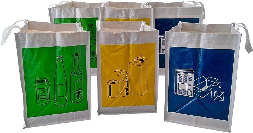 Sin marca Pack de 2 Sets de 3 Bolsas Basura Reciclaje/Cubos de ...