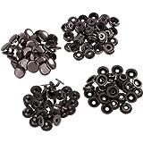 ノーブランド品 約30セット 金属 スナップ ボタン ドットボタン 裁縫 工芸品 2サイズ4色選ぶ - グレーブラック, 12.5mm