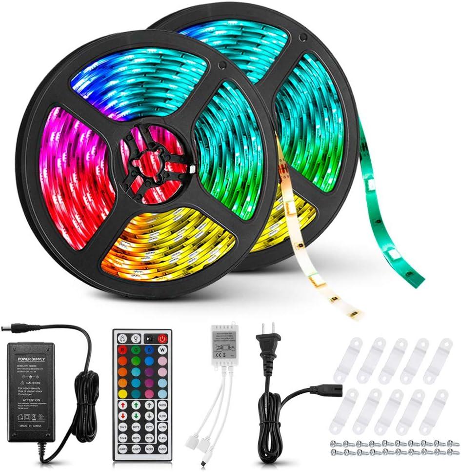 LED Strip Lights, LightMe RGB LED Strip Lights Kit 32.8ft/10M 300LEDs SMD 5050 LED Waterproof Flexible Color Changing Rope Light with 44 Keys Remote for Ceiling Bar Counter Cabinet Lighting DIY Decor