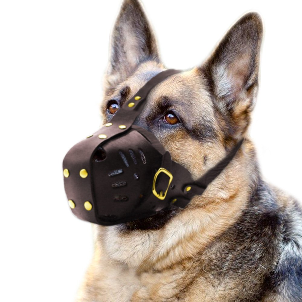 PET ARTIST Genuine Leather Dog Muzzle Adjustable Medium Big Dog
