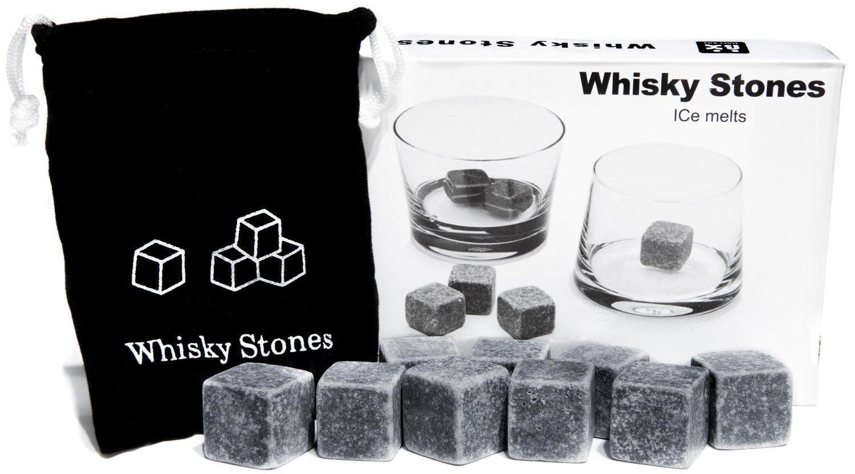 Piedras de Esteatita Natural (9 Unidades) para Enfriar el Whiskey Vino y Te sin Sobre-Enfriarlo ni Diluirlo - Incluye una Bolsa para Guardarlas by RIVENBERT