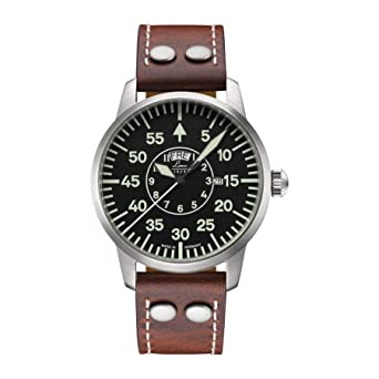 97dec4322685 Laco 1925 Men s 861806 Pilot Classic Round Stainless Steel Watch with Brown  Leather Strap