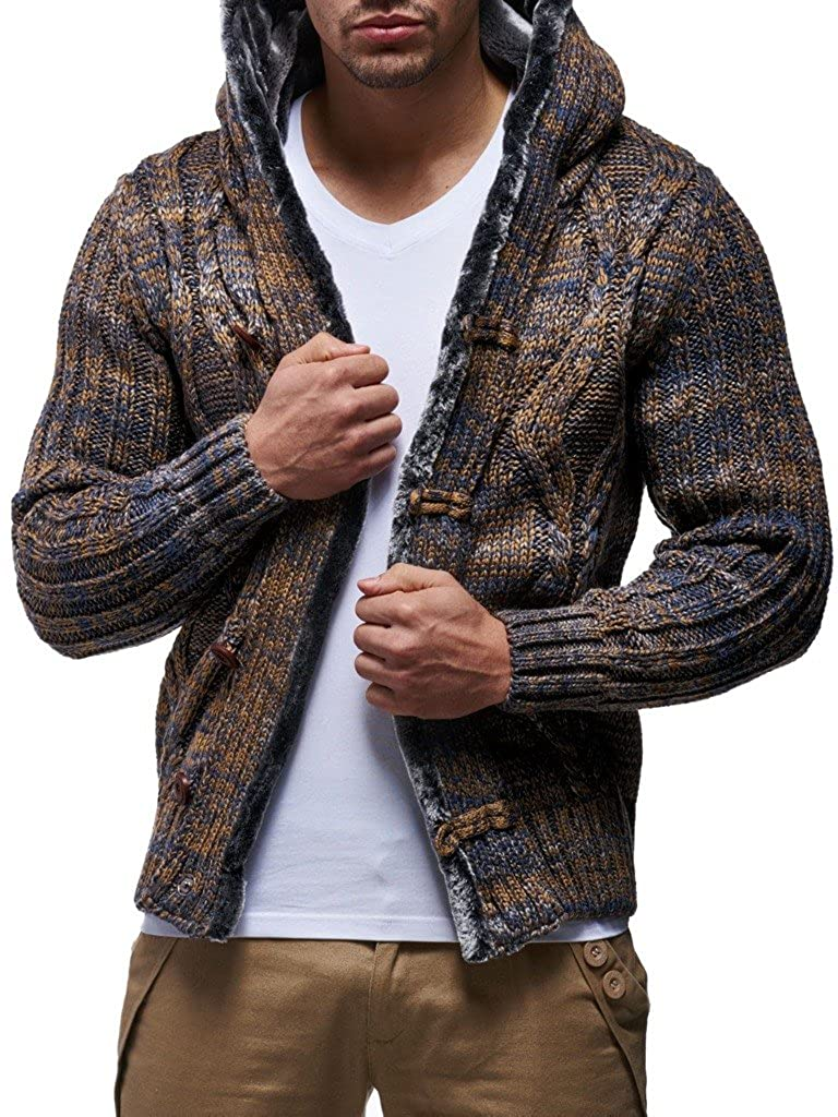 Stylish Button up Cardigan for Men LEIF NELSON Men/'s Knitted Cardigan Winter Pullover Long-Sleeved Slim fit Hoodie