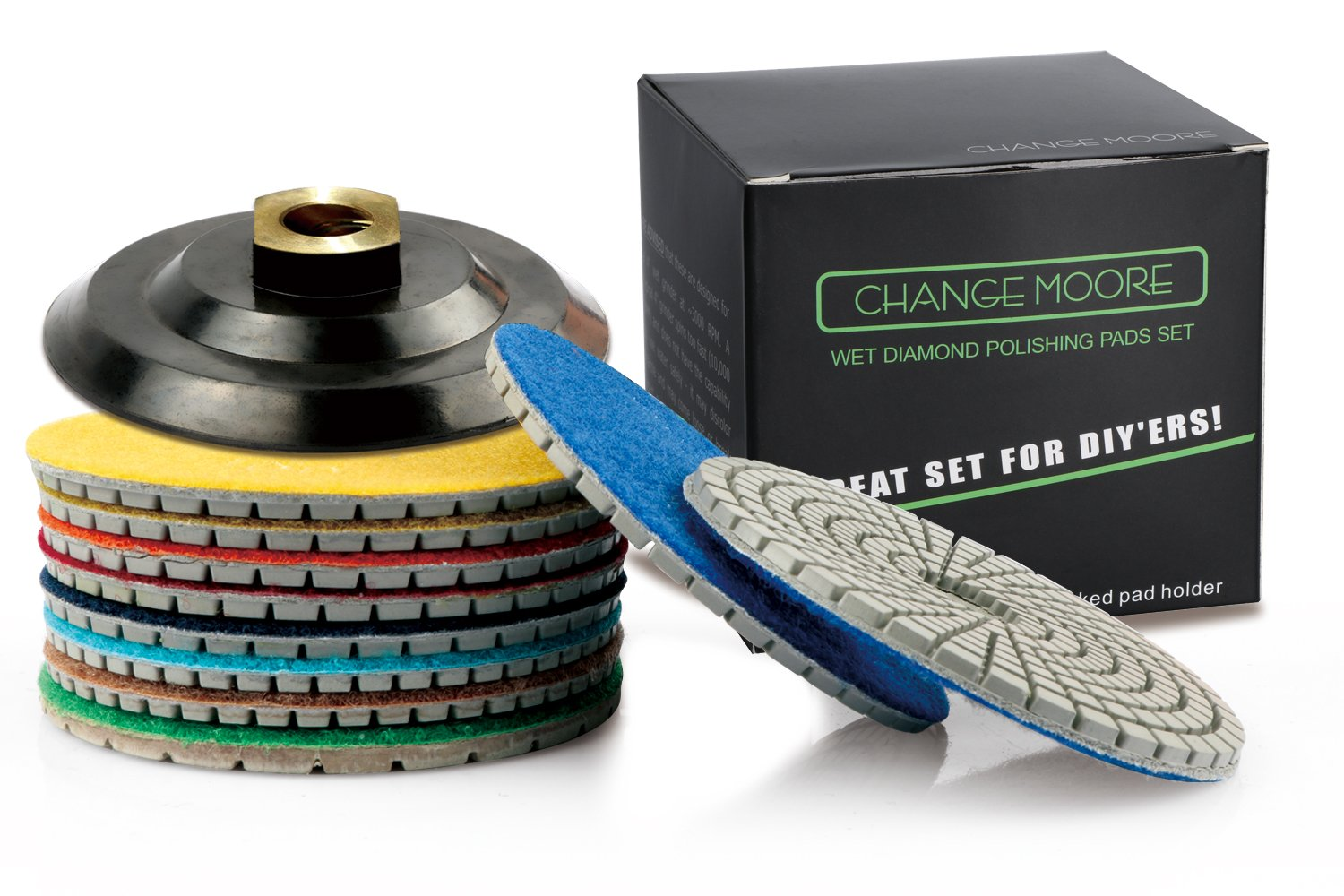 CHANGE MOORE Wet Diamond Polishing Pads Set 4 Inch for Marble Travertine Concrete Quartz Countertop Floor Stone 10 PCS and 1 Velcro Rubber backing pad (5/8'' arbor) by CHANGE MOORE (Image #7)