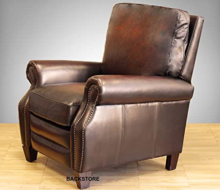 Barcalounger Briarwood II Leather Manual Recliner Stetson Bordeaux Top Grain Leather Chair with Espresso Wood Legs 7-4490 5407-17 – Standard Ground Curbside Delivery