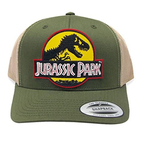 Image Unavailable. Image not available for. Color  Jurassic Park Yellow Movie  Patch Retro Mesh Trucker Moss Khaki Cap Hat 980d9d506b11