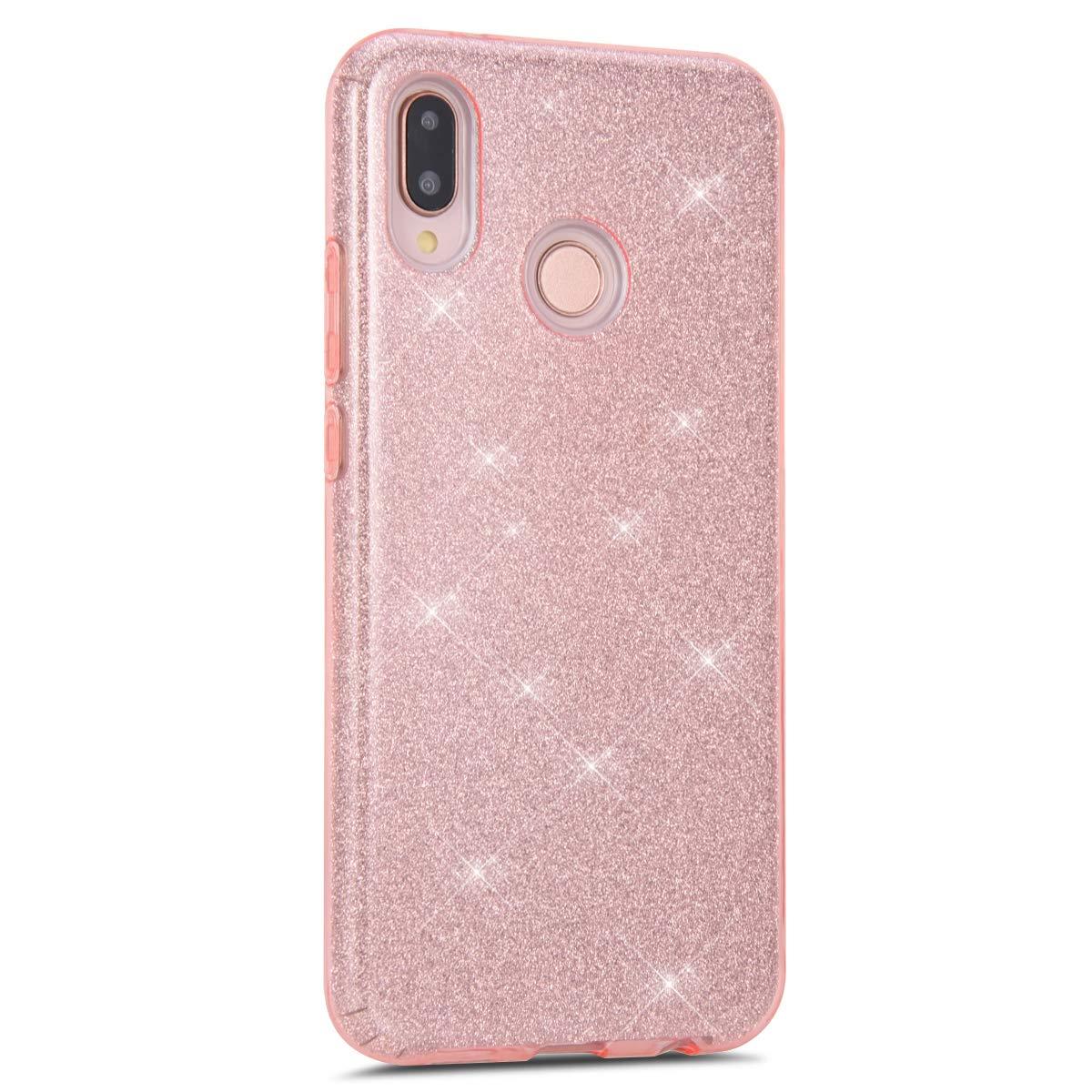 Felfy Kompatibel mit Huawei P20 Lite H/ülle Luxus Glitzer Gl/änzend Sparkle Handyh/ülle Ultra D/ünn Weich Gel TPU Silikon Transparent Crystal Case Kratzfeste Tasche Bumper Cover Case,Silber