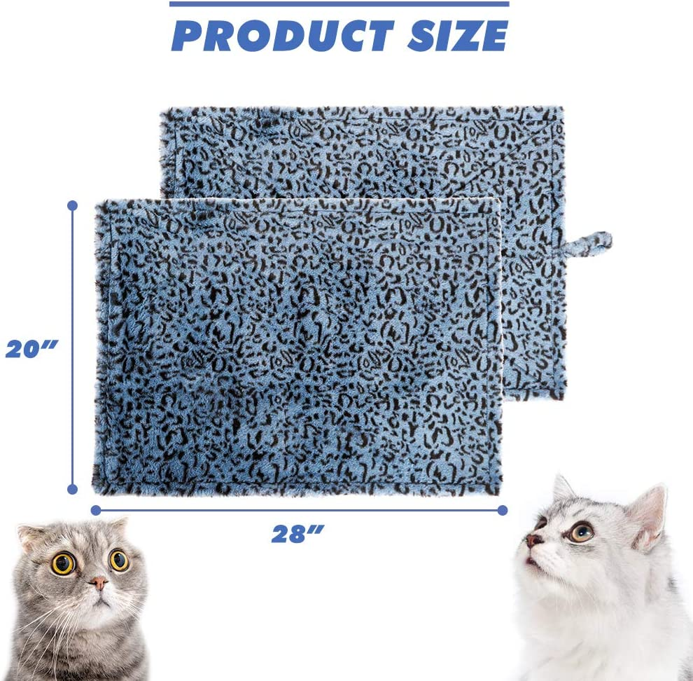 KOOLTAIL Cat Self Warming Bed Pad with Free Blanket - Anti-Slip Heating Pet Mat Leopard Cat Bed Outdoor Soft for Cats Small Puppy : Pet Supplies