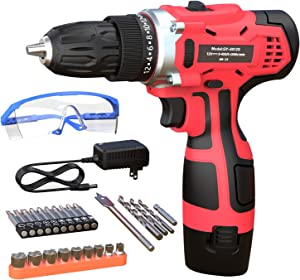 GardenJoy 12V Max Power Drill Cordless Electric Drills Set/Driver Accessories Kit with 2 Variable Speed 3/8'' Keyless Chuck 24+1 Torque Setting Fast Charger Power Tools for Home Improvement DIY
