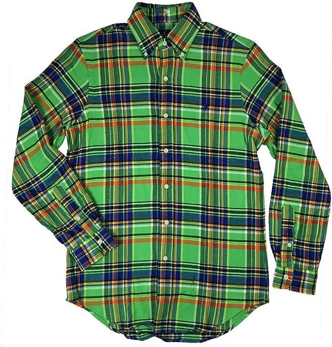 Ralph Lauren Polo Camiseta de Manga Larga para Hombre (Franela), diseño de Cuadros, Color Verde