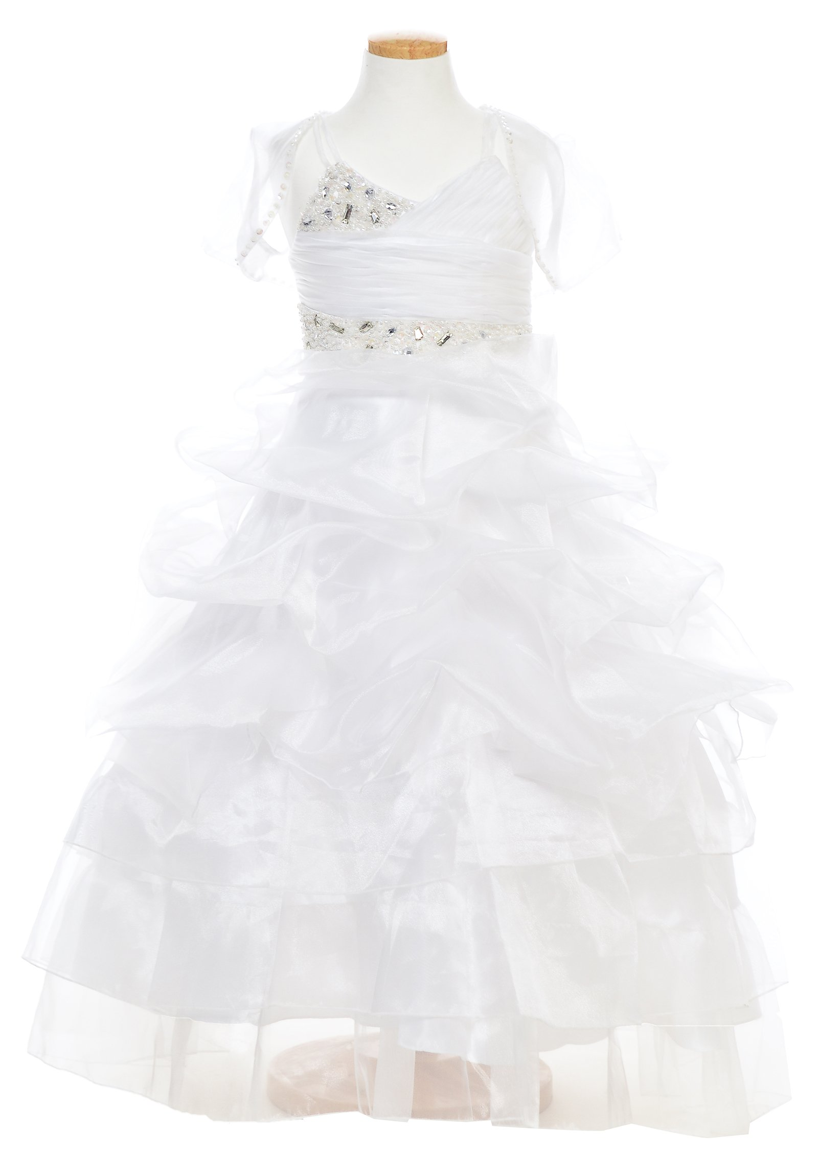 TwinMod Embellished 4 Layer Ruffled Flower Girl Pageant Dress (16, WHITE) by TwinMod