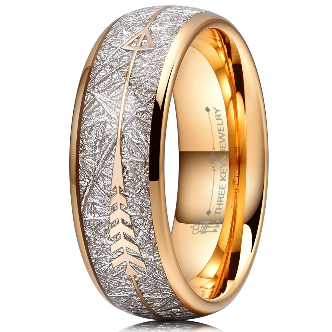 Three Keys 8mm Tungsten Wedding Ring for Men Domed Imitated Meteorite Arrows Inlay Gold Mens Meteorite Wedding Band Engagement Ring Promise Ring Size 13