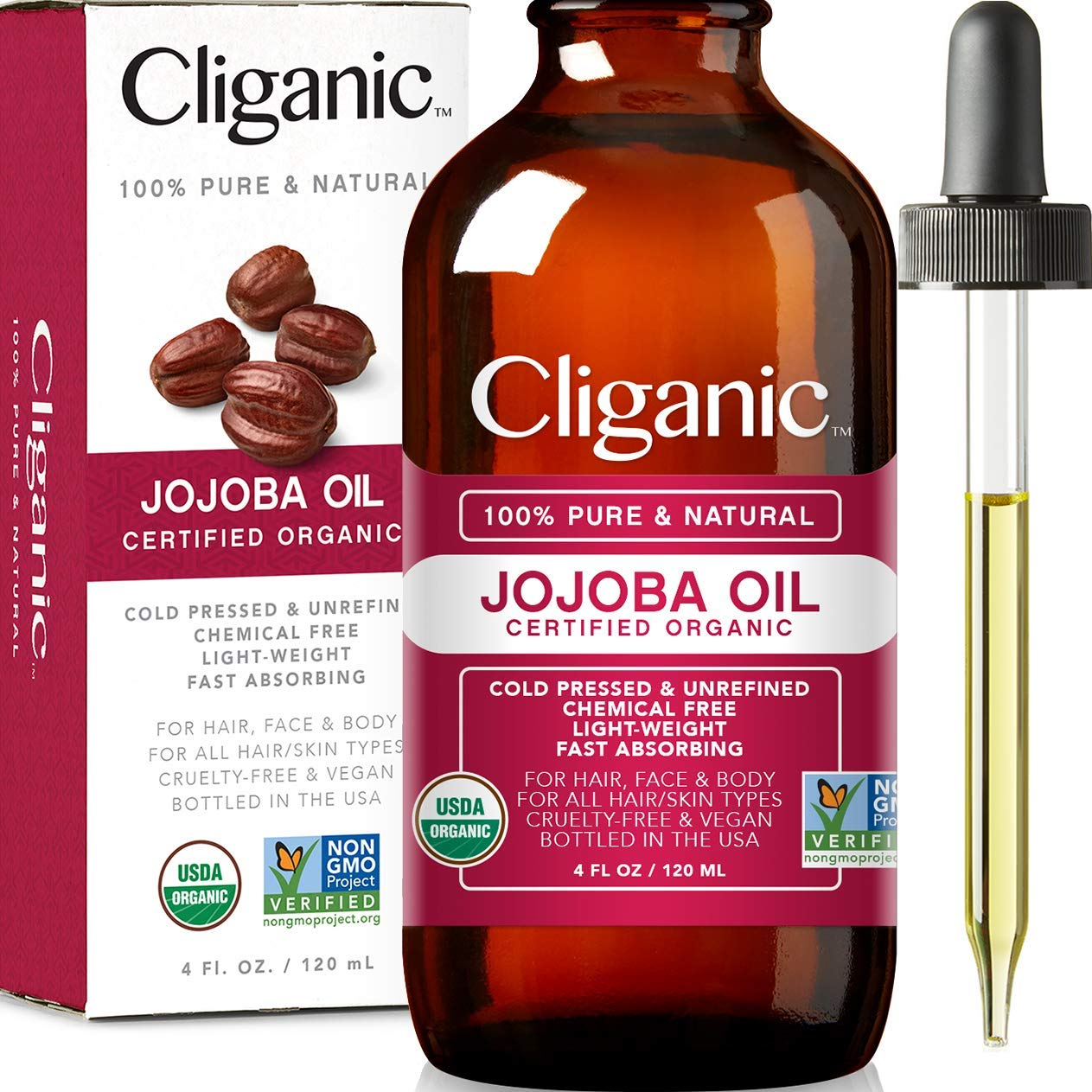 Cliganic USDA Organic Jojoba Oil, 100% Pure (4oz Large) | Natural Cold Pressed Unrefined Hexane Free Oil for Hair & Face