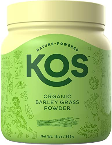KOS Organic Barley Grass Powder - Non-GMO, Raw Barley Grass Powder - Fiber Rich, Antioxidant Heavy USDA Organic Plant Based Ingredient, 369g, 118 Serving