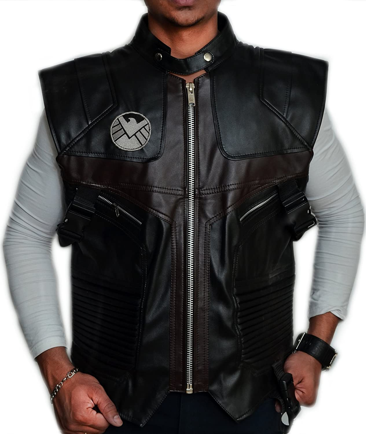 The Avengers: Hawkeye Clint Barton Brown Faux Leather Vest - DeluxeAdultCostumes.com