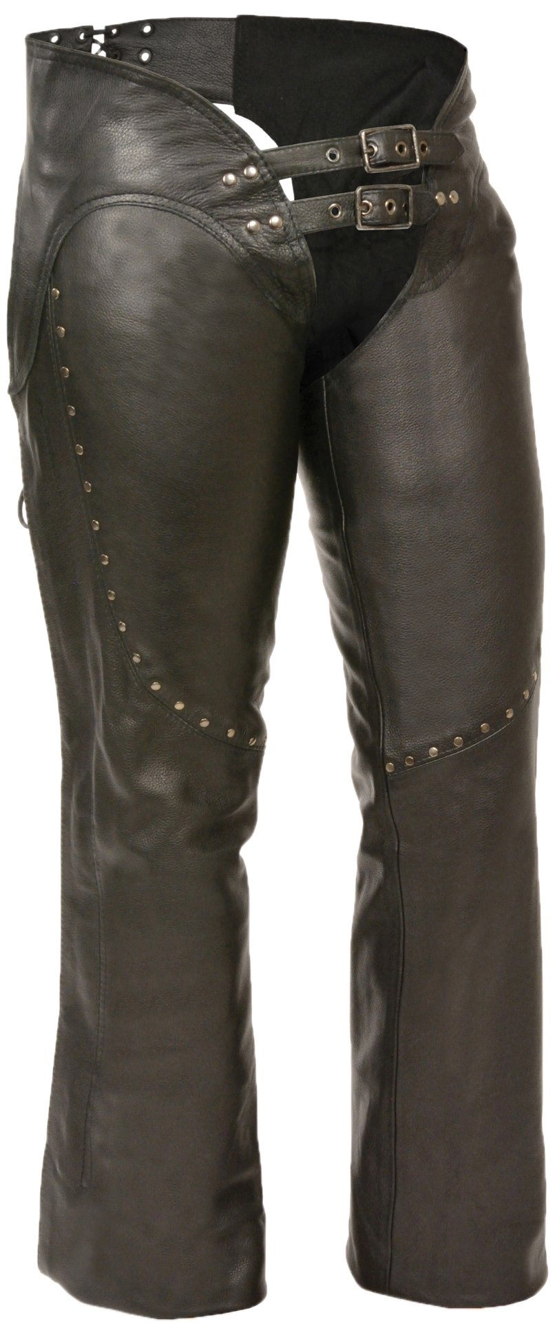 Milwaukee Women's Low Rise Double Buckle Leather Chaps (Black, Large)
