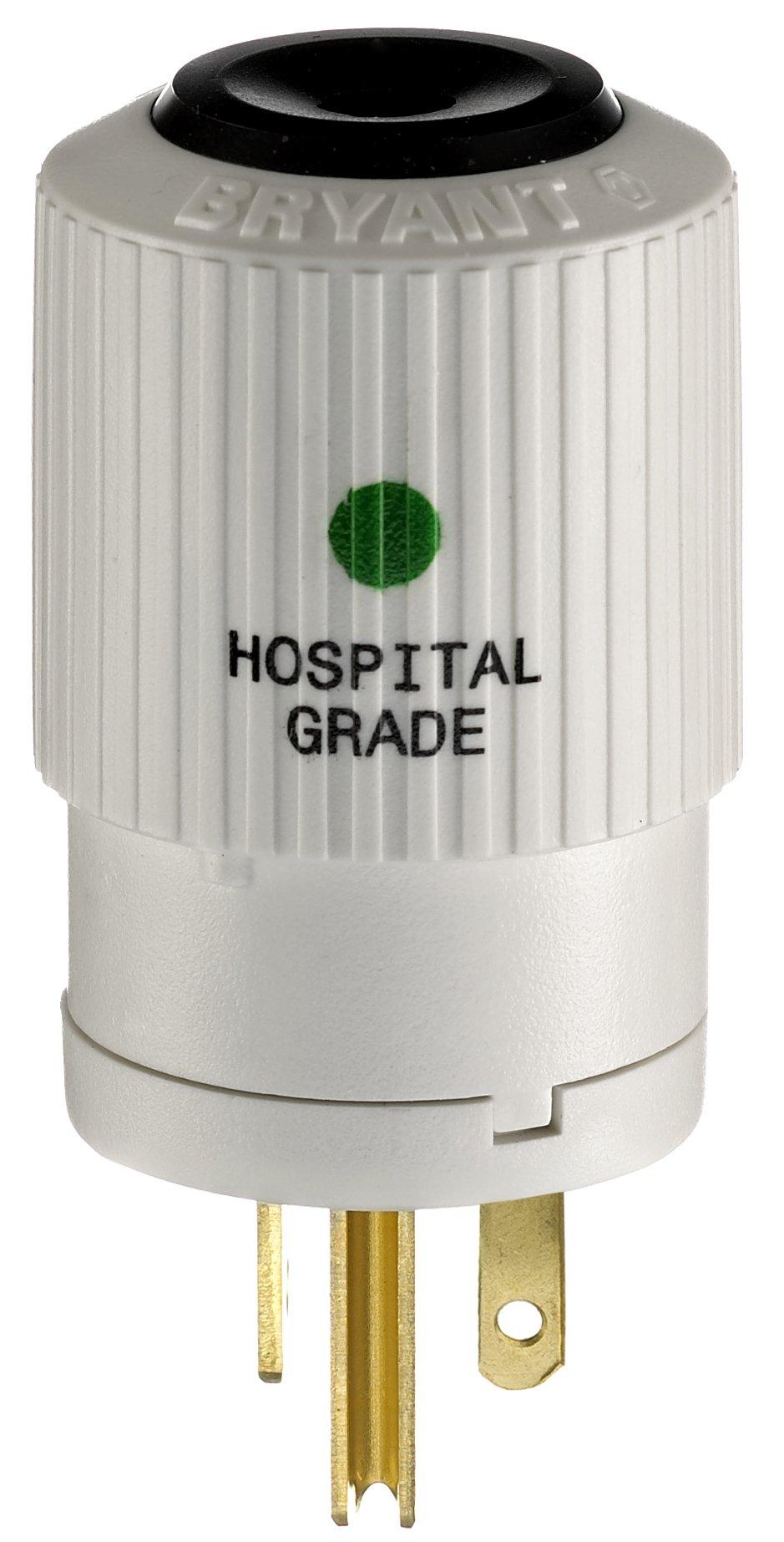 Bryant Electric BRY8366NP  Hospital Grade Straight Blade Plug, Grounding, NEMA 5-20P, 20 Amp, 125V, White