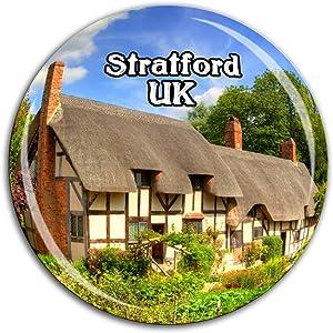 Anne Hathaway's Cottage & Gardens Stratford England UK Fridge Magnet 3D Crystal Glass Tourist City Travel Souvenir Collection Gift Strong Refrigerator Sticker