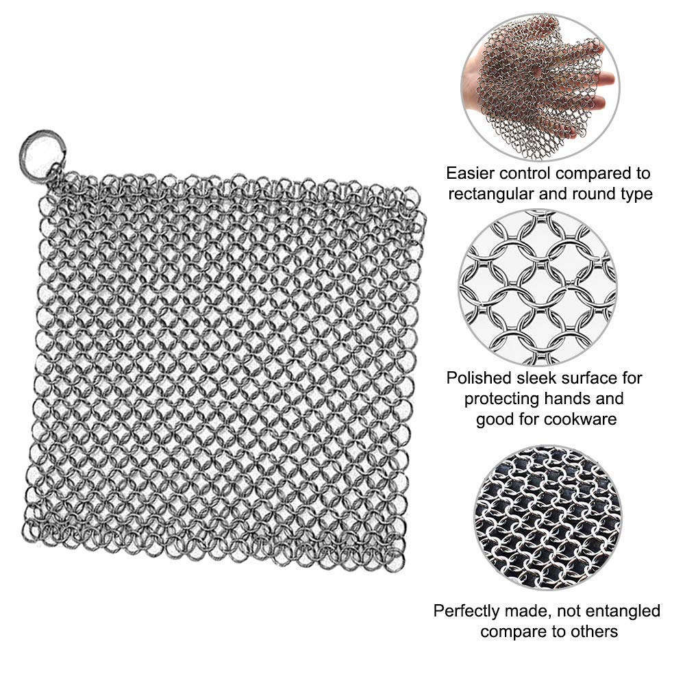 Washieldz Stainless-Steel Cast Iron Skillet Cleaner for Cookware, Pot and Grill