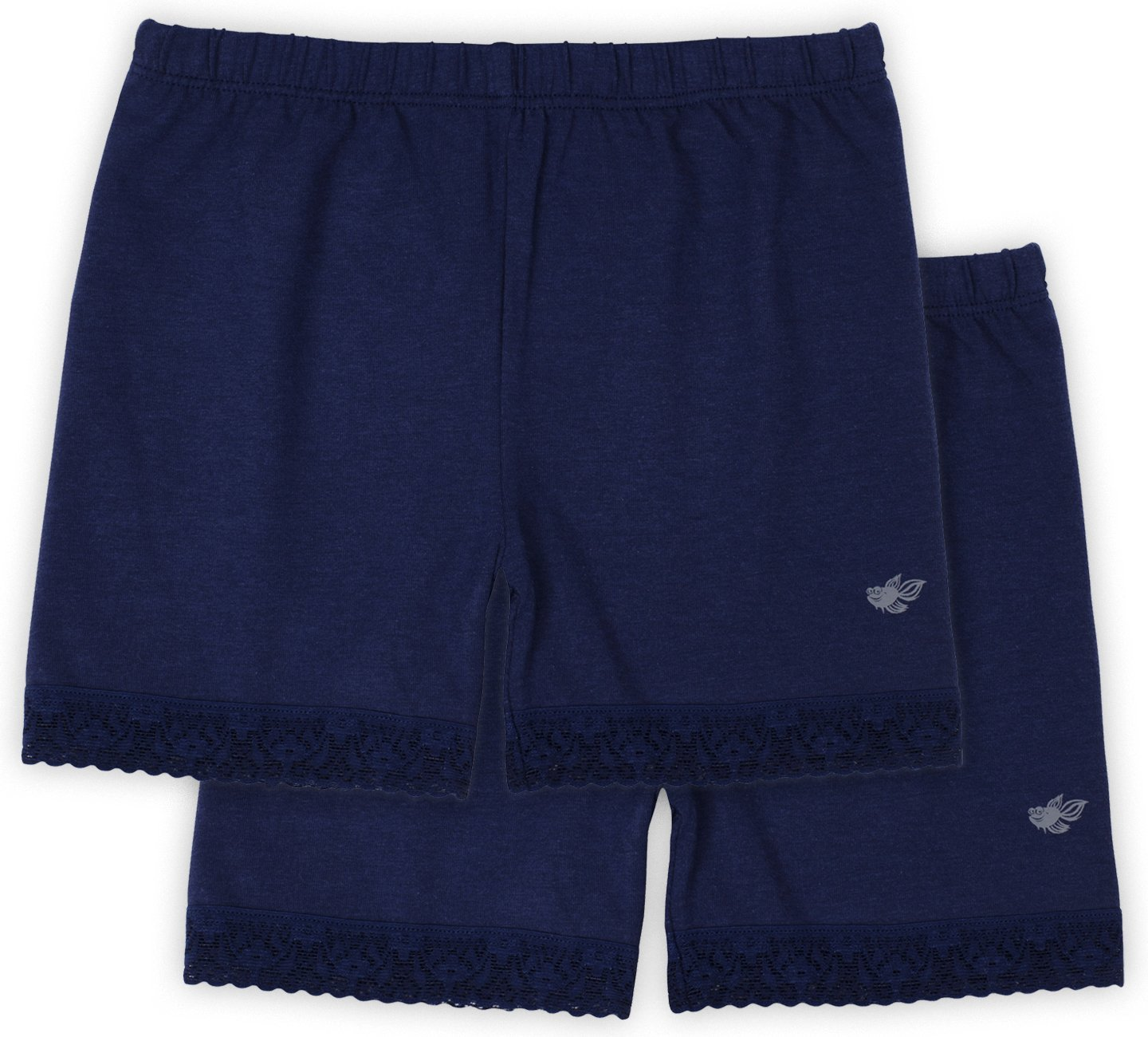 Lucky & Me Leah Girls Shorts Underwear, 2-Pack Underpants for Skirts, Uniforms, Dresses, Navy, 6