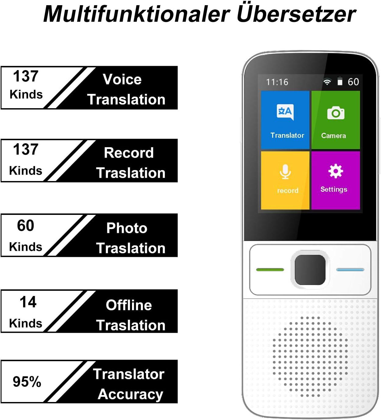 Sprach/übersetzer-Ger/ät T10 /über 130 Sprachen mit Foto/übersetzung Sprach/übersetzer bidirektionale /Übersetzungen WiFi Offline f/ür Urlaub Lernen Reisen tragbarer Sprach/übersetzer