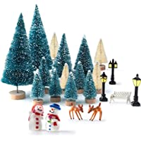 Kuuqa Mini Assorted Pine Trees Bottle Brush Trees with Snowmen, Reindeer, Mini Garden Wooden Bench, Street Lamps…