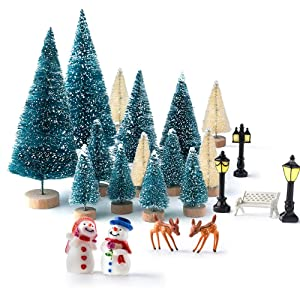 Kuuqa Mini Assorted Pine Trees Bottle Brush Trees with Snowmen, Reindeer, Mini Garden Wooden Bench, Street Lamps Miniature Ornaments for Miniature Fairy Garden Village Decoration Ornaments (Set of 31)