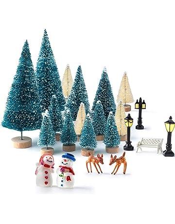 Kuuqa Botella de árboles de pino con muñecos de nieve renos, mini banco de madera