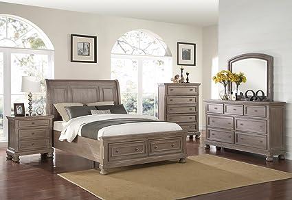 Amazon.com: Alabaster 5 Piece Queen Storage Bedroom Set with ...