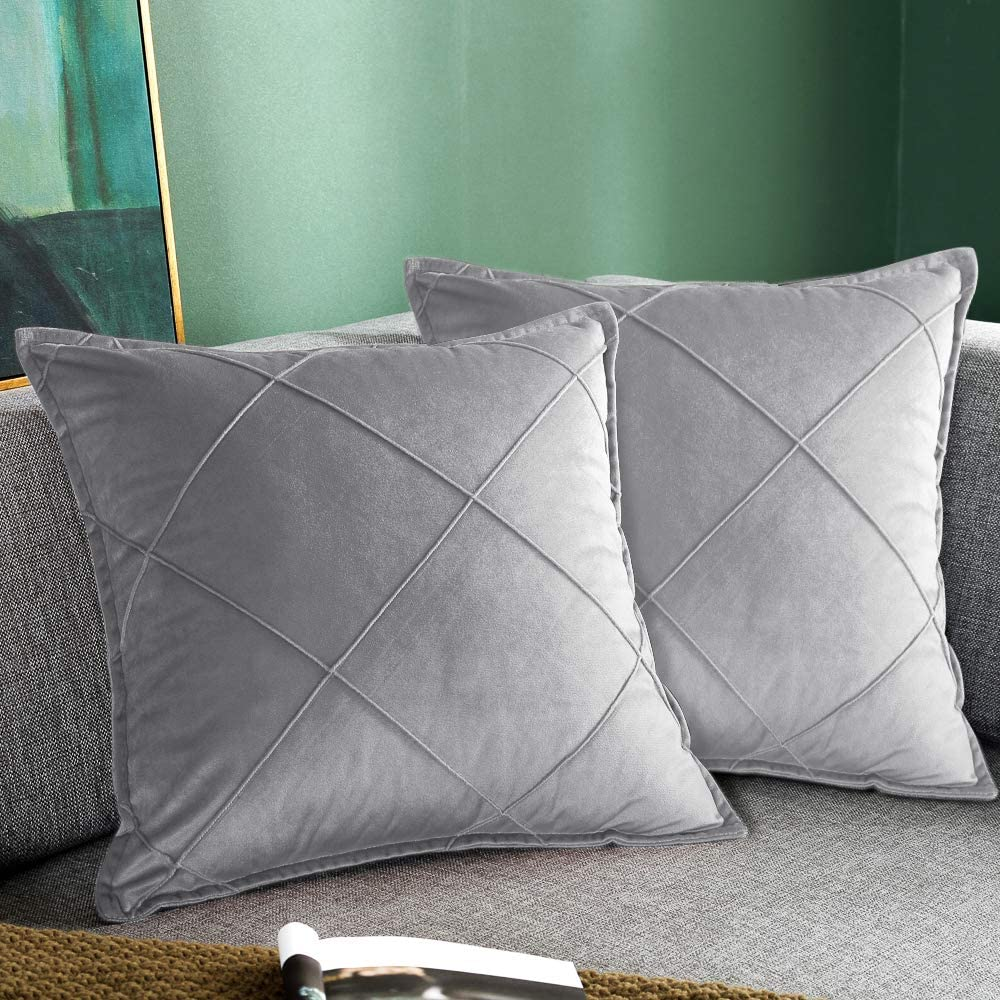 Britimes Throw Pillow Covers Light Grey Home Decor Set of 2 Pillow Cases Decorative 18x18 Inches Outdoor Cushion Couch Sofa Checkered Pillowcases