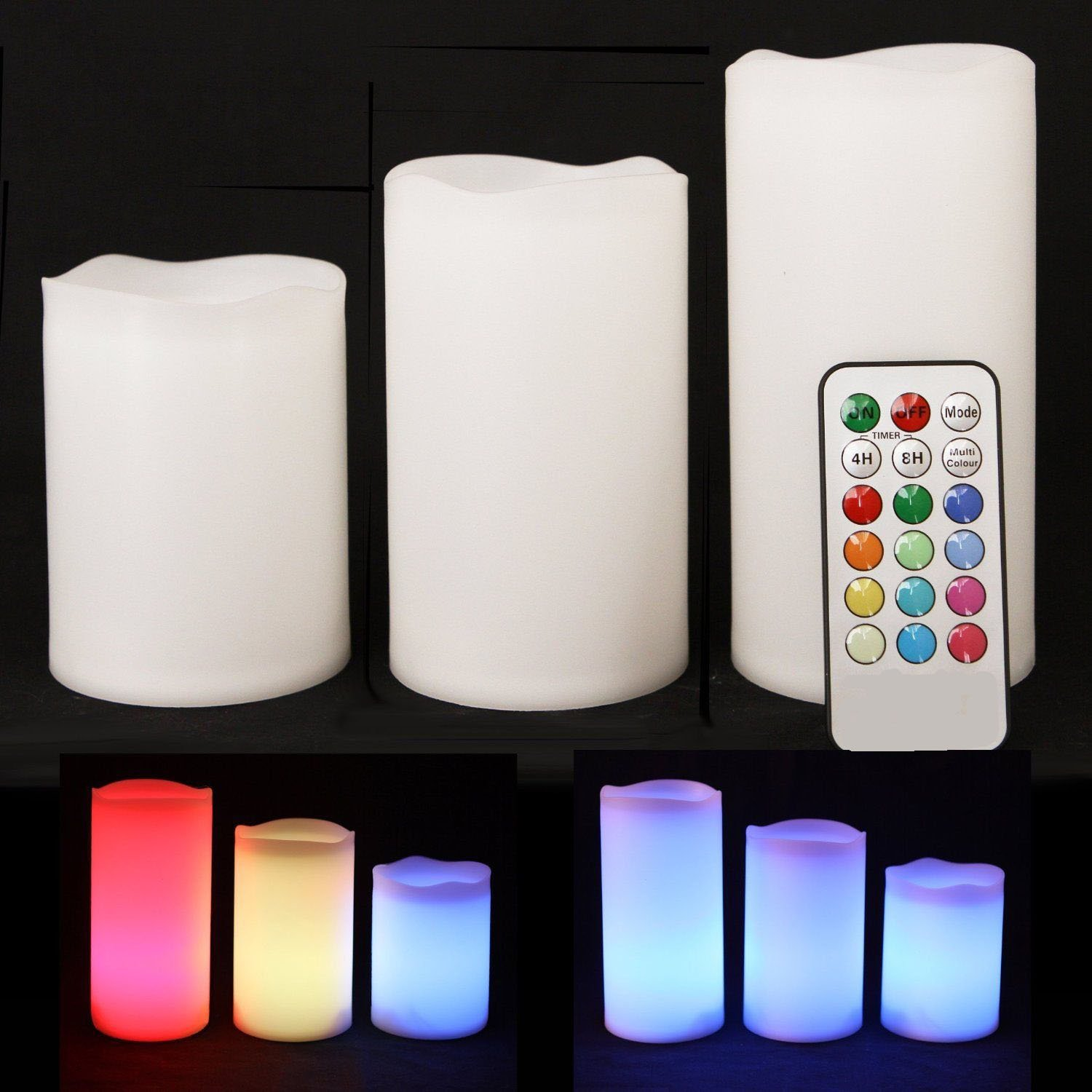 3 Weatherproof Outdoor and Indoor Colour Changing Candles-Remote Control & Timer Fi-CH