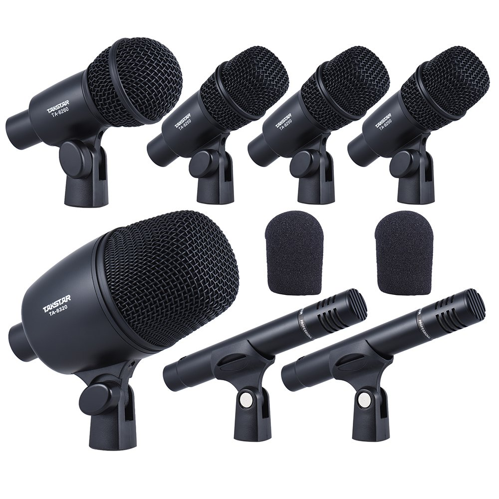 Ammoon TAKSTAR DMS-7AS Wired Microphone Mic Kit For Drum Set