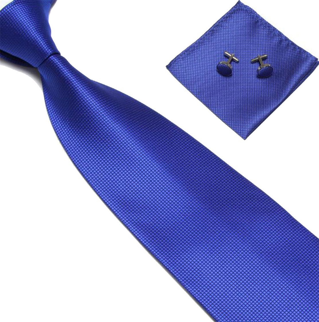 Etecredpow Mens Cufflinks Matching Square Solid Jacquard Weddings Neckties Jewelry Blue One Size