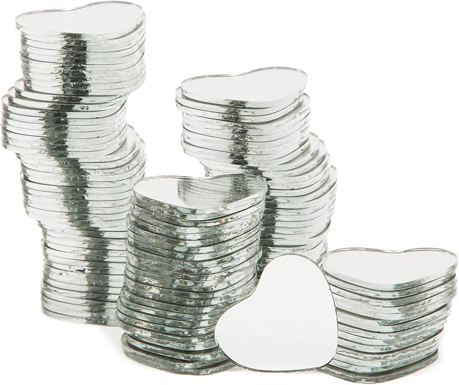 Heart Mirror Tiles, Mirrors for Crafts and DIY (1 Inch, 120 Pack)