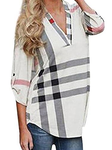 Elevesee Moda Plaid Print V-collar De Siete Mangas Camiseta