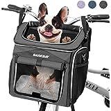 BARKBAY Dog Bike Basket Carrier, Expandable Foldable Soft-Sided Dog Carrier, 2 Open Doors, 5 Reflective Tapes, Pet Travel Bag