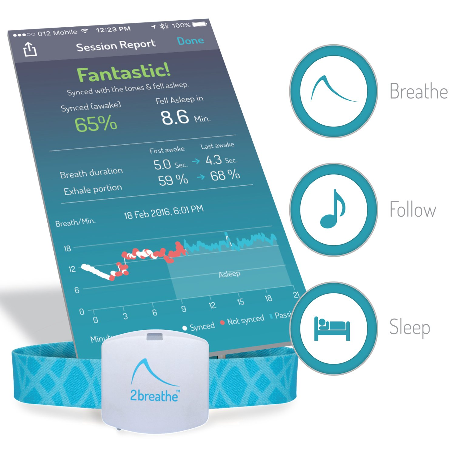 2breathe Sleep Inducer - Sleep Sound System. Smart Device and Mobile App to Induce Sleep. Guides You to Slow Breathing with Prolonged Exhalation using Sounds. Natural Sleep Therapy Machine by RESPeRATE (Image #6)